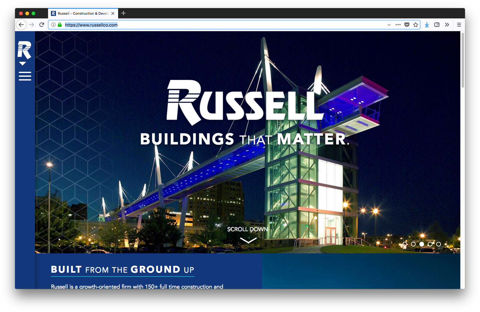 Screenshot of Russell website homepage
