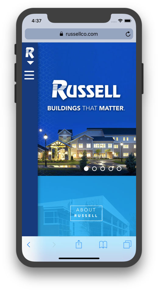Screenshot of new Russell website on an iPhone X