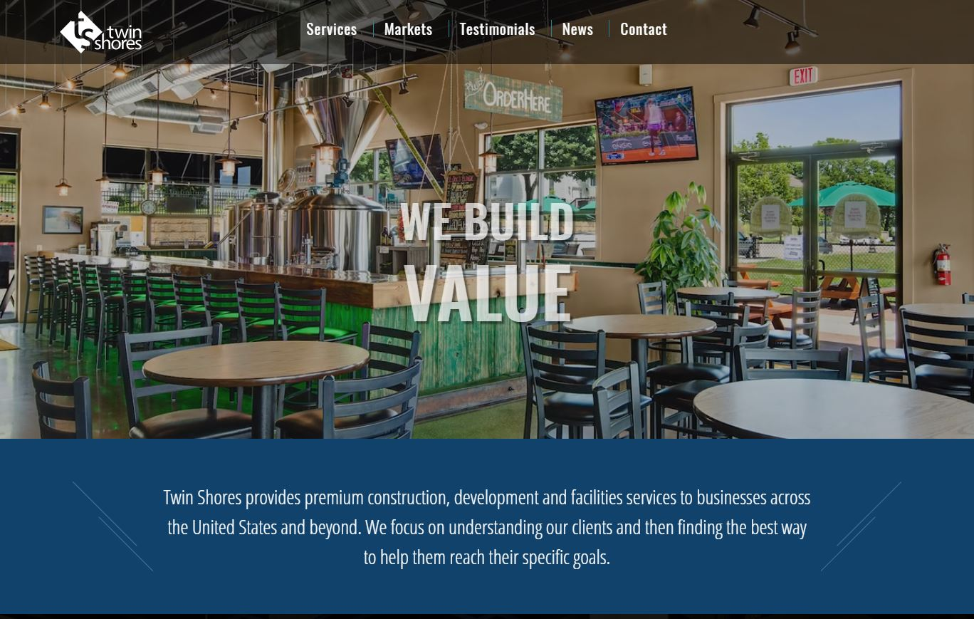 Screenshot of Twin Shores website projects page