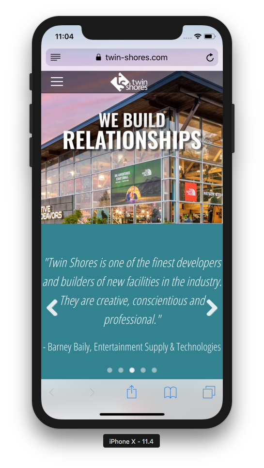 Screenshot of new Twin Shores website on an iPhone X
