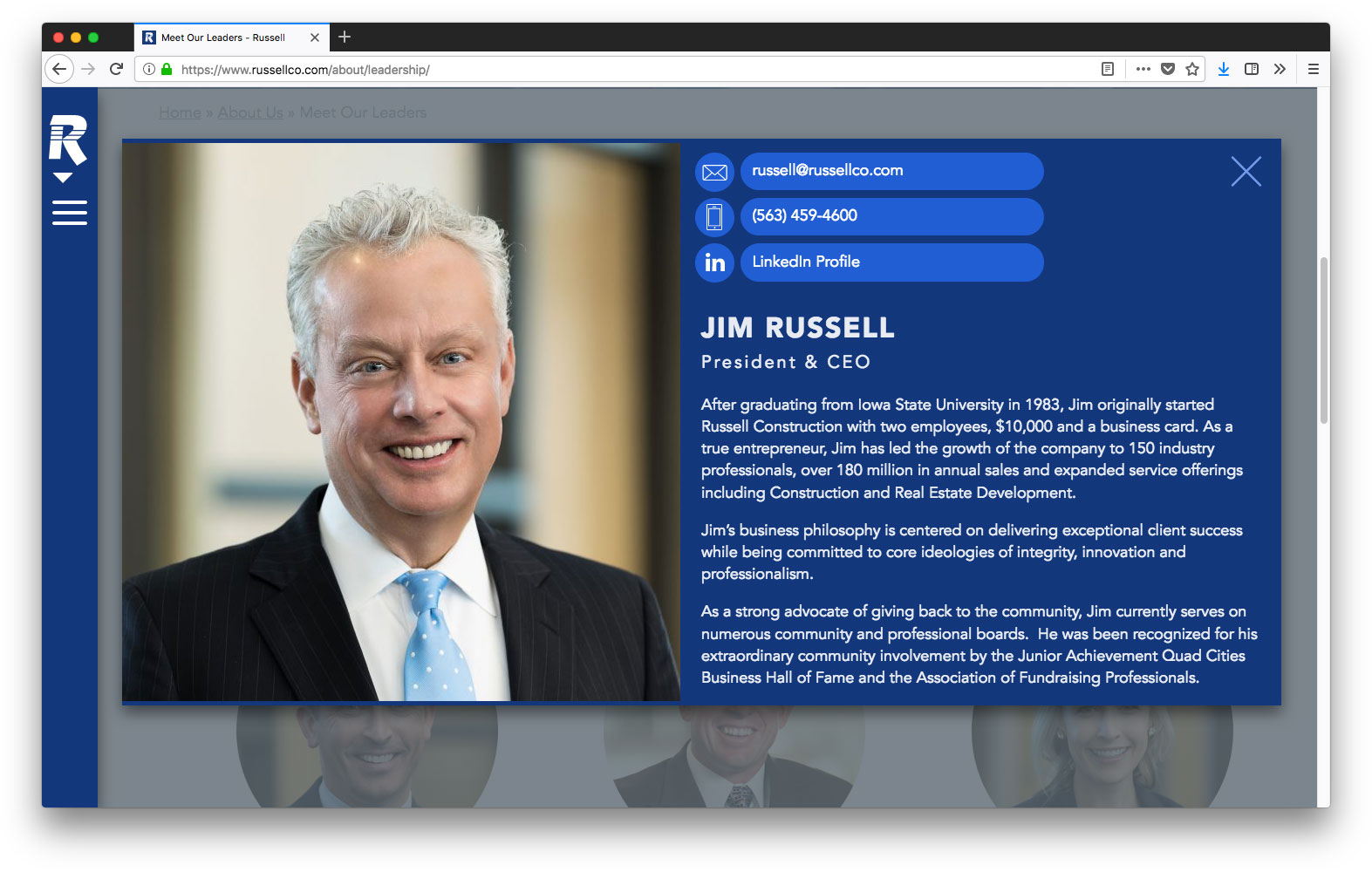 Screenshot of Russell leadership page with Jim Russell