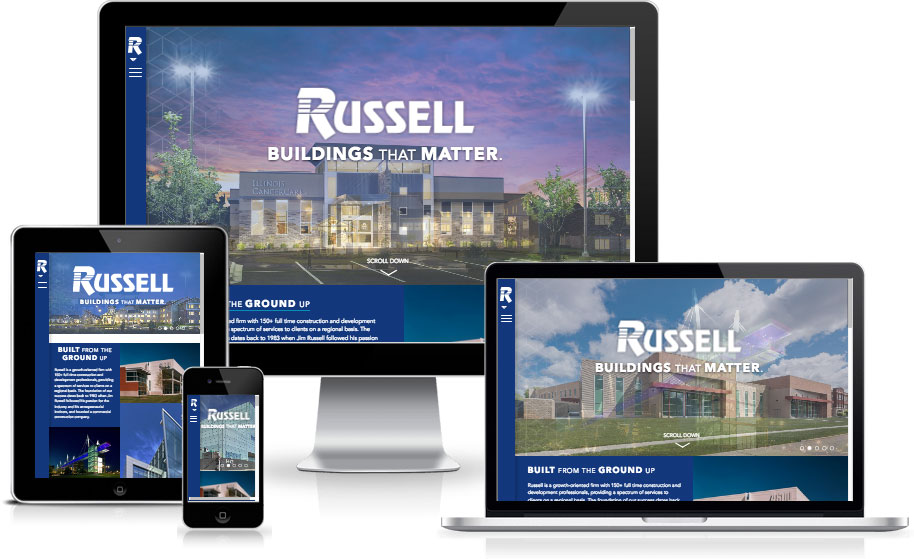 Russell website preview on multiple devices
