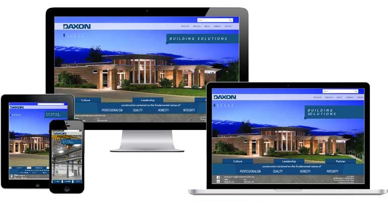 Screenshot of Daxon Construction website on devices