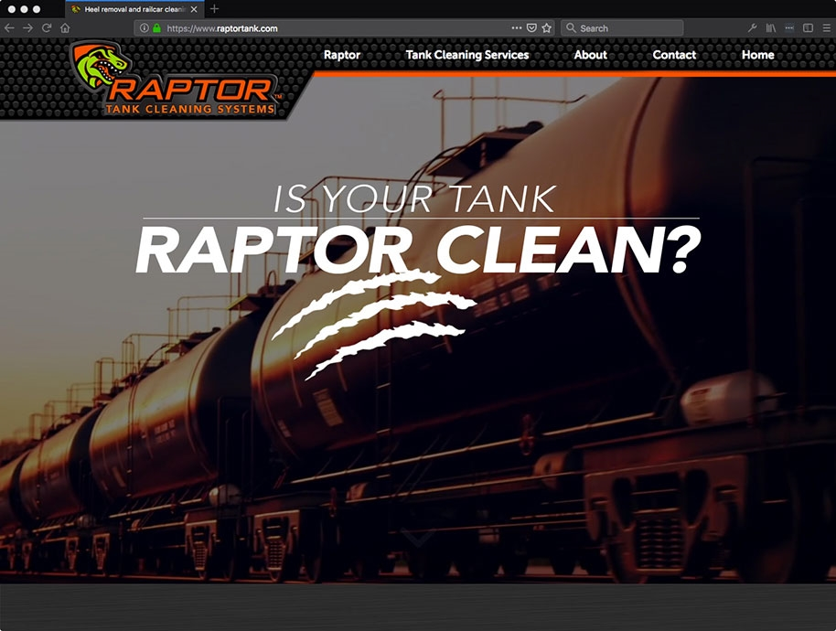 Screenshot of Raptor website homepage