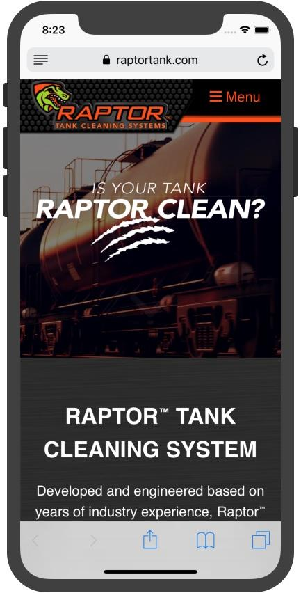 Screenshot of new Raptor website on an iPhone X