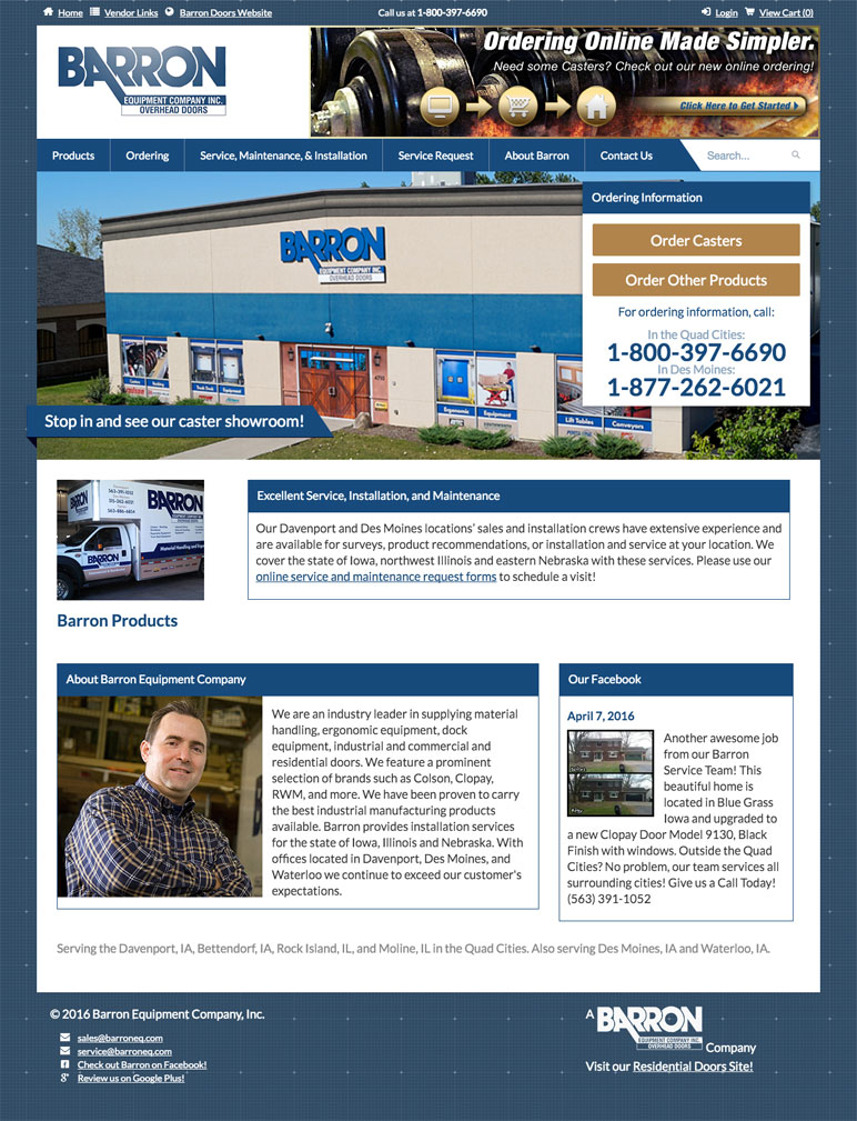 Barron Equipment website screenshot of home page
