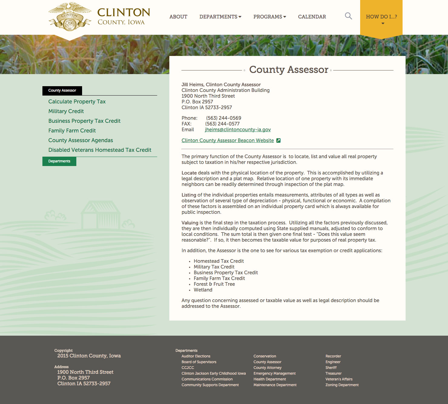 Clinton County desktop secondary page screenshot