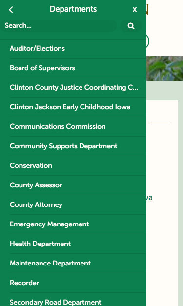 Clinton County mobile menu screenshot