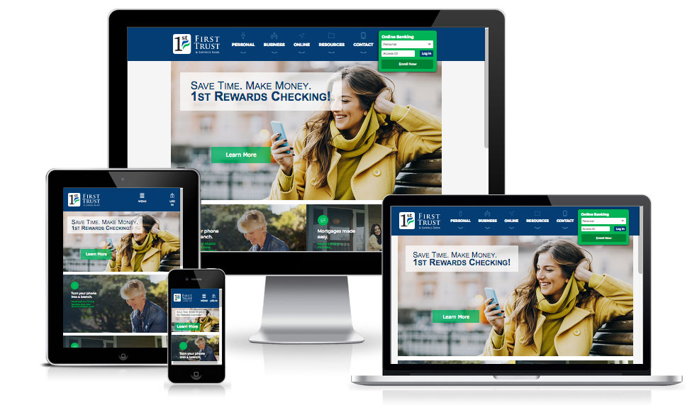 First Trust Bank responsive design inside of a laptop, desktop, tablet, and mobile phone screen.