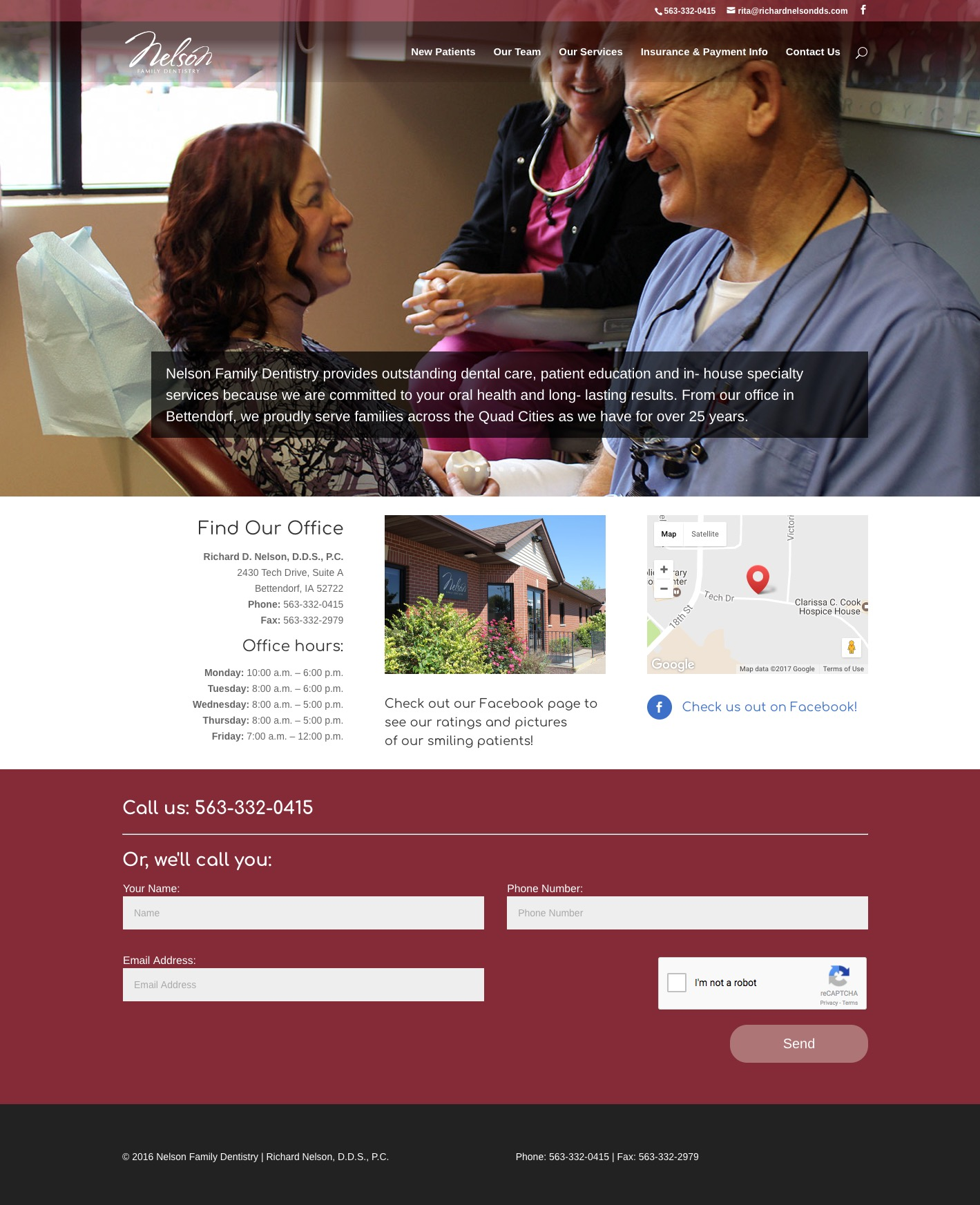 Nelson Family Dentistry home page screenshot
