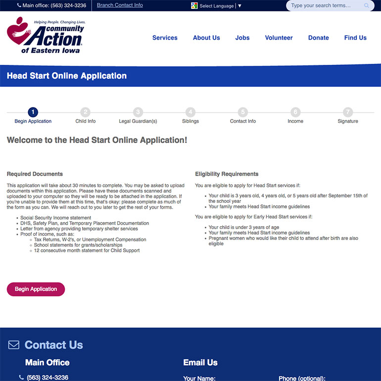 Community Action Headstart online application page screenshot