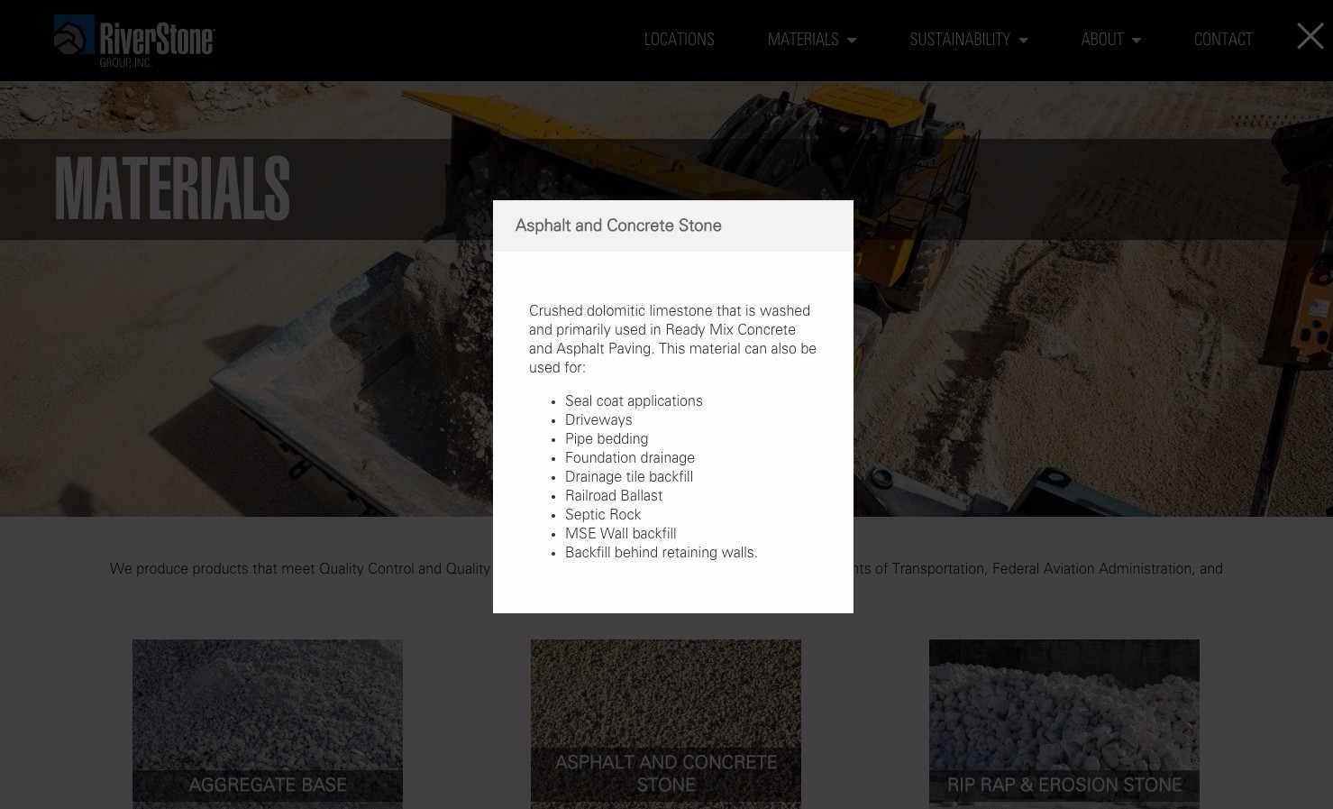 Riverstone Group Materials page screenshot