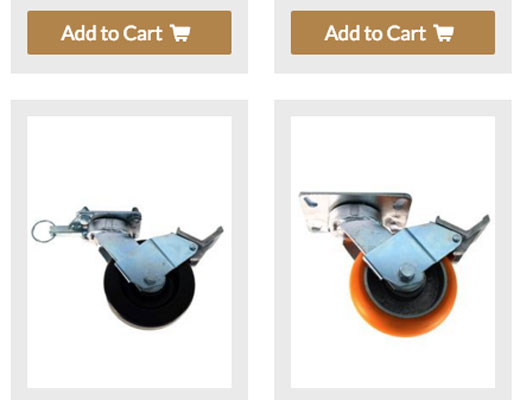 Barron Equipment website casters page screenshot