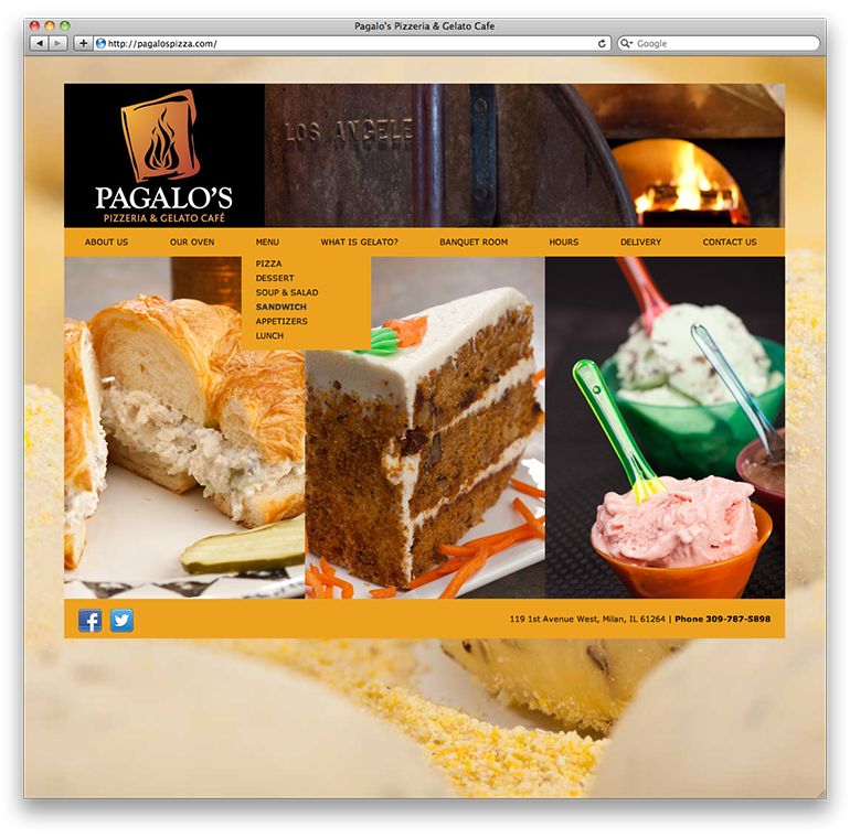 Pagalo's Pizzeria Homepage with Dropdown